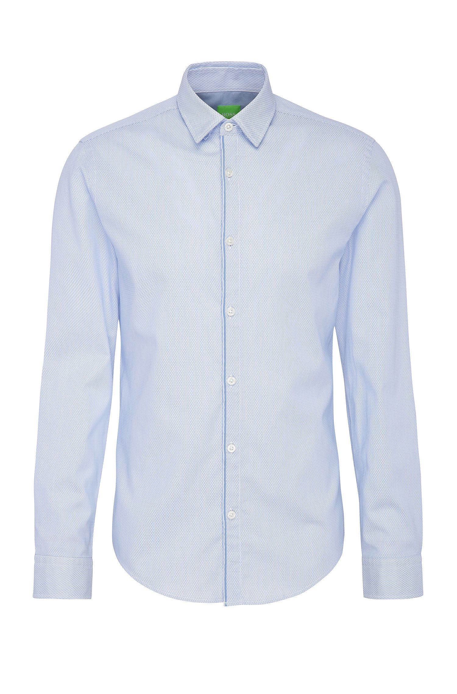 Slim-fit cotton shirt with woven pattern: 'Brizzi'
