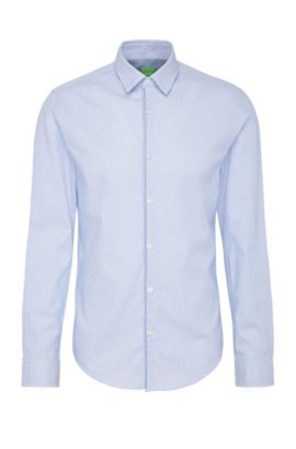 Slim-fit cotton shirt with woven pattern: 'Brizzi', Open Blue