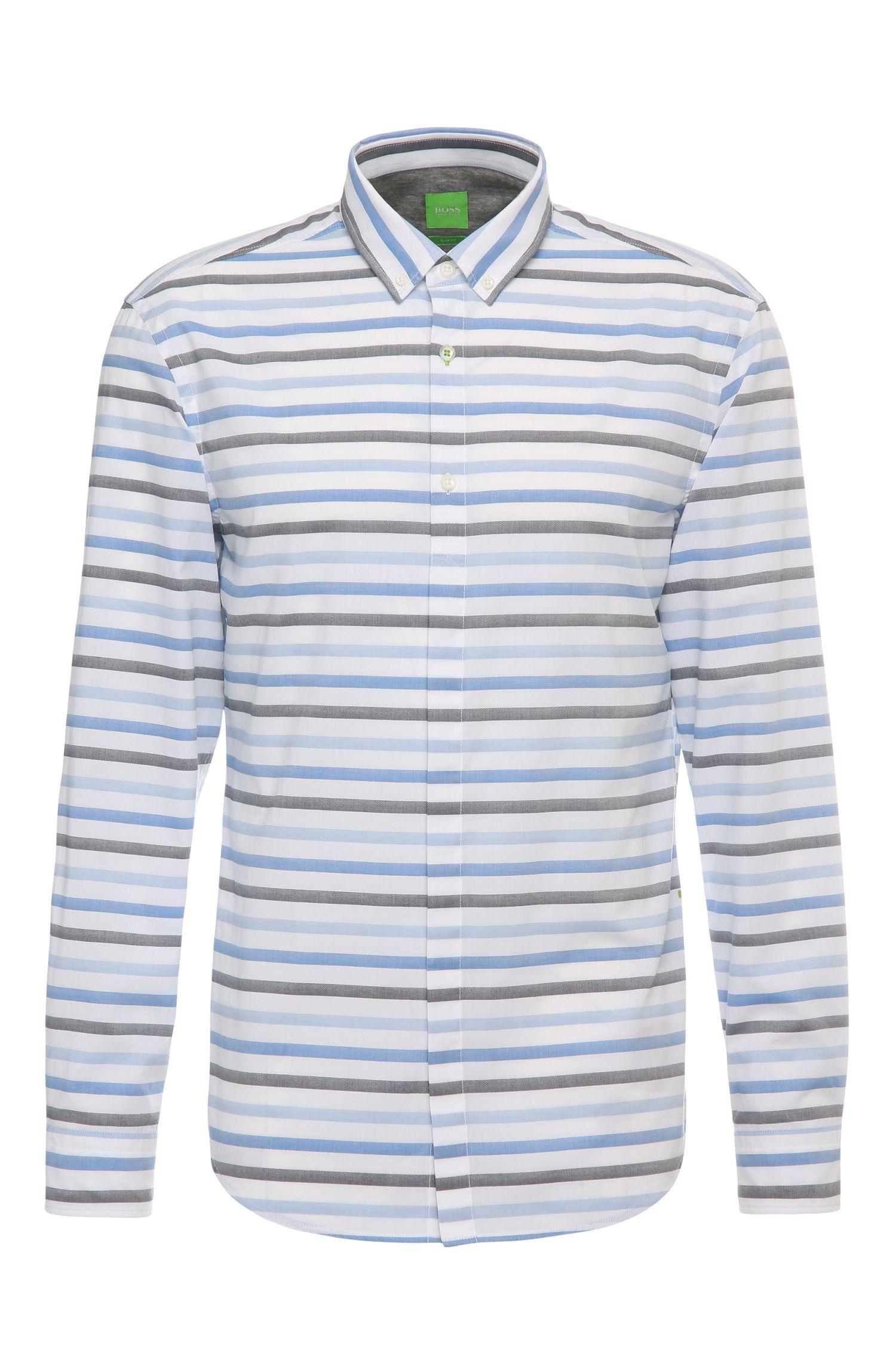 Camicia in cotone slim fit con texture e motivo a righe: 'Belfiore'