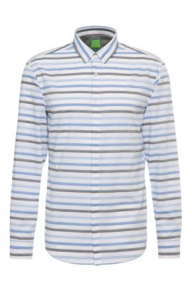 Slim-fit cotton shirt with stripes and texture: 'Belfiore', Dark Blue