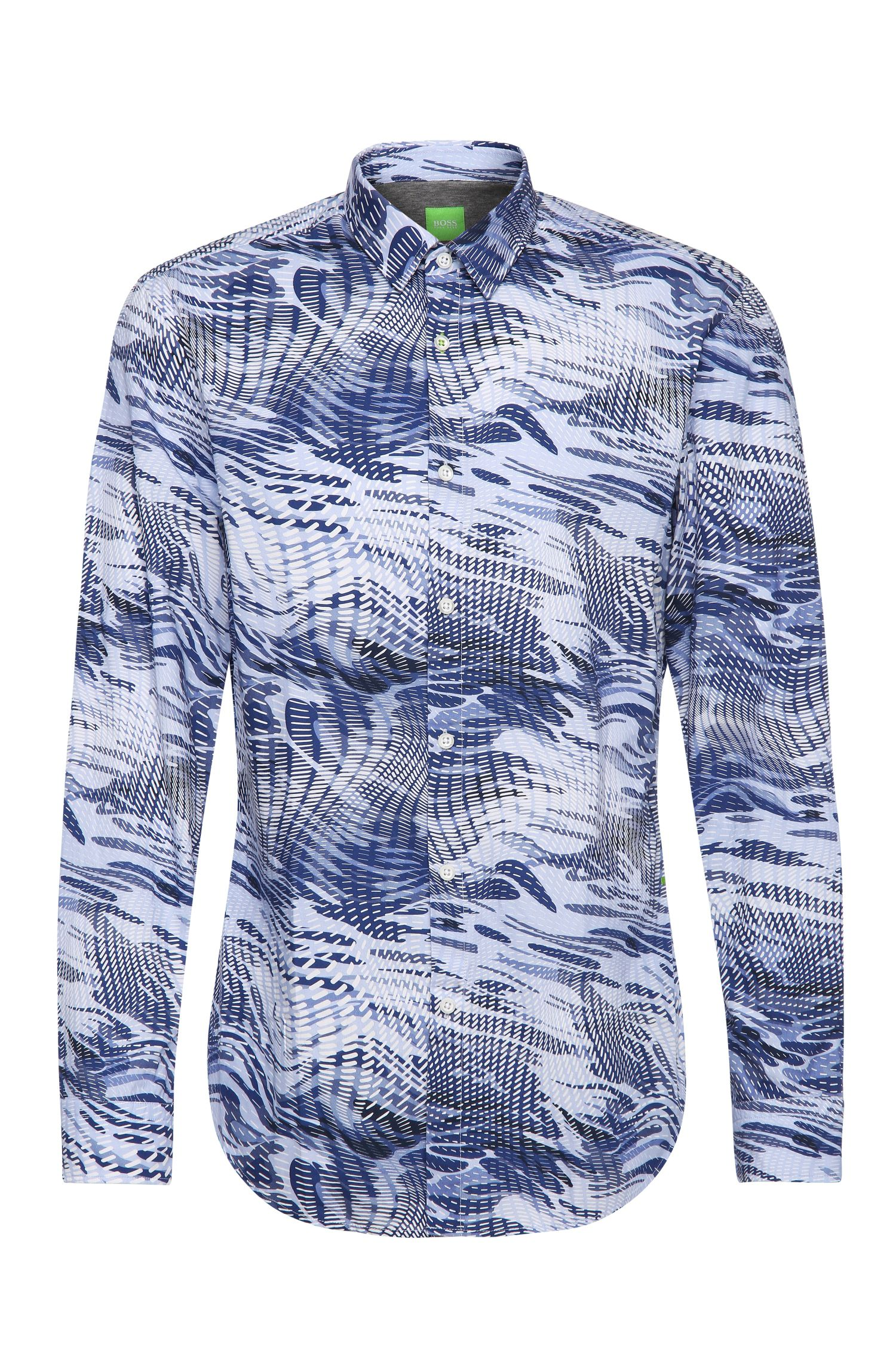 Slim-fit cotton shirt with all-over print: 'Bertillo'
