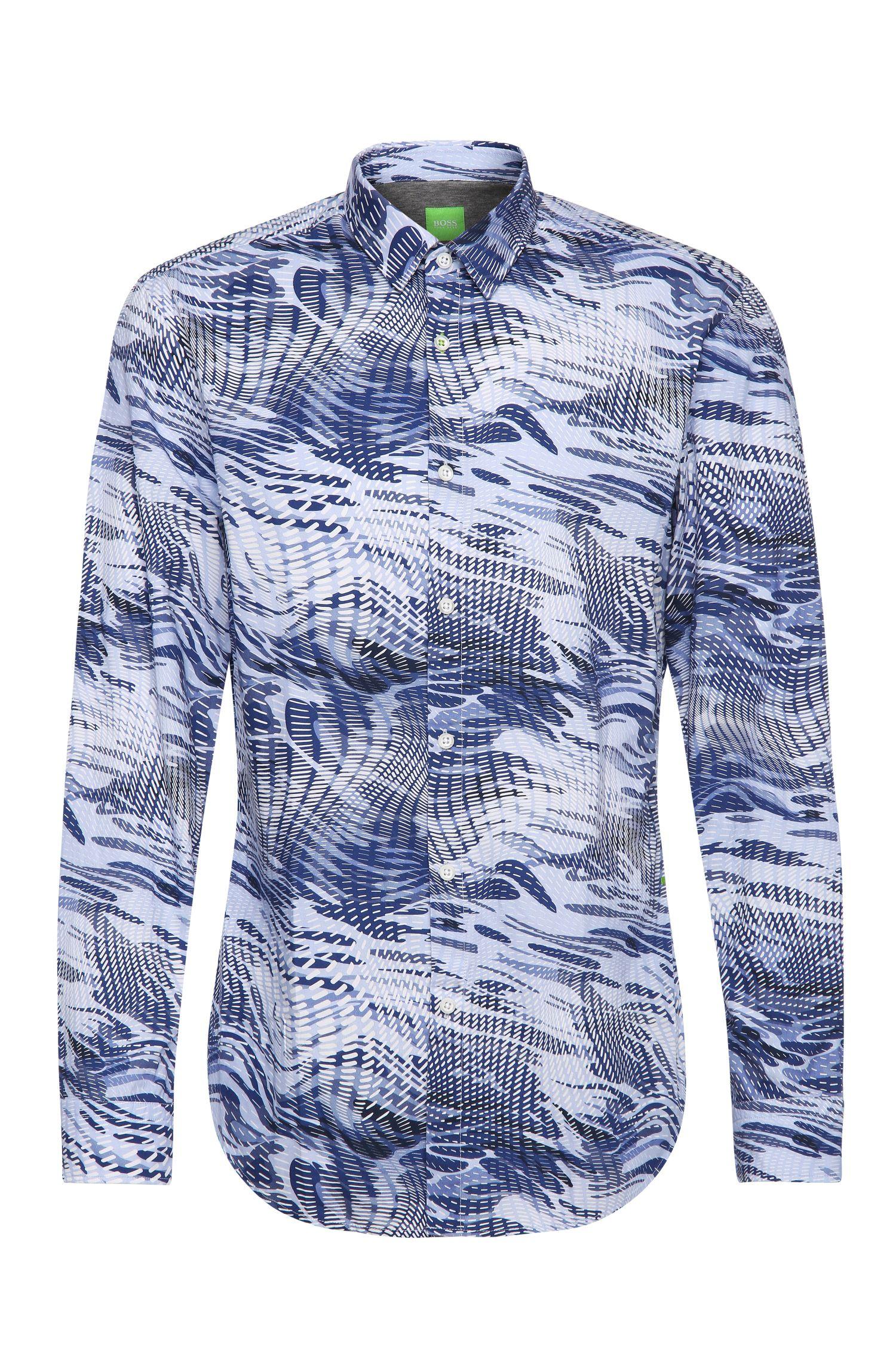 Camisa slim fit en algodón con estampado integral: 'Bertillo'