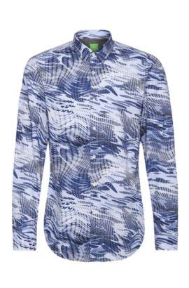 Camisa slim fit en algodón con estampado integral: 'Bertillo', Celeste