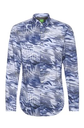 Slim-fit cotton shirt with all-over print: 'Bertillo', Open Blue