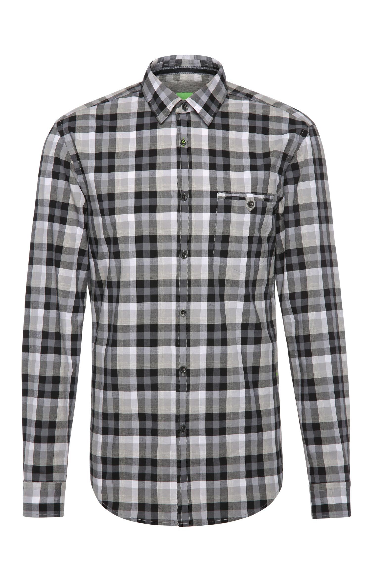 Camicia in cotone slim fit a quadri: 'Blumas'