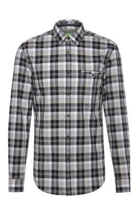 Camicia in cotone slim fit a quadri: 'Blumas', Grigio