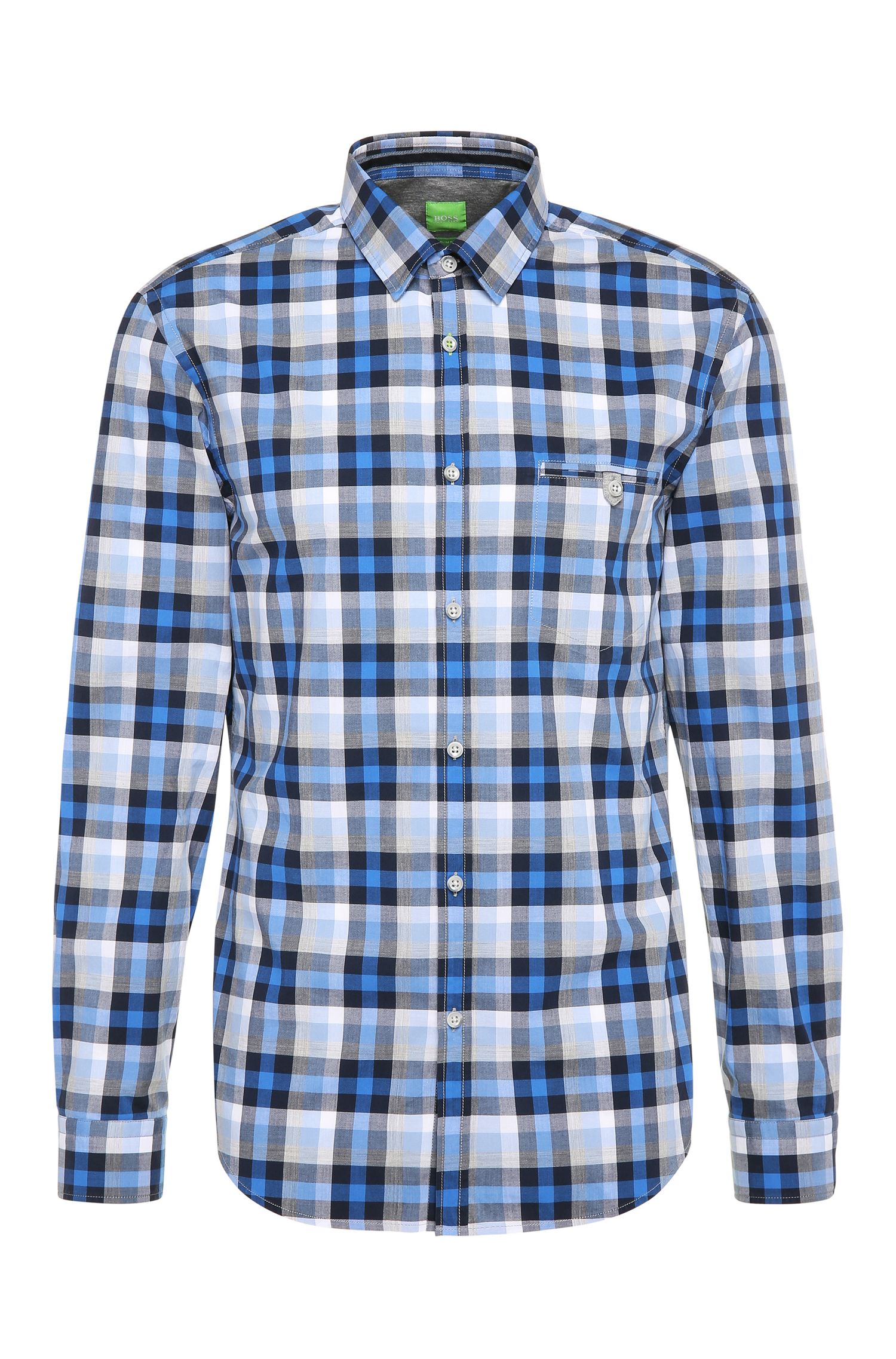 Checked slim-fit cotton shirt: 'Blumas'