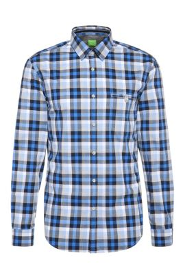 Checked slim-fit cotton shirt: 'Blumas', Open Blue