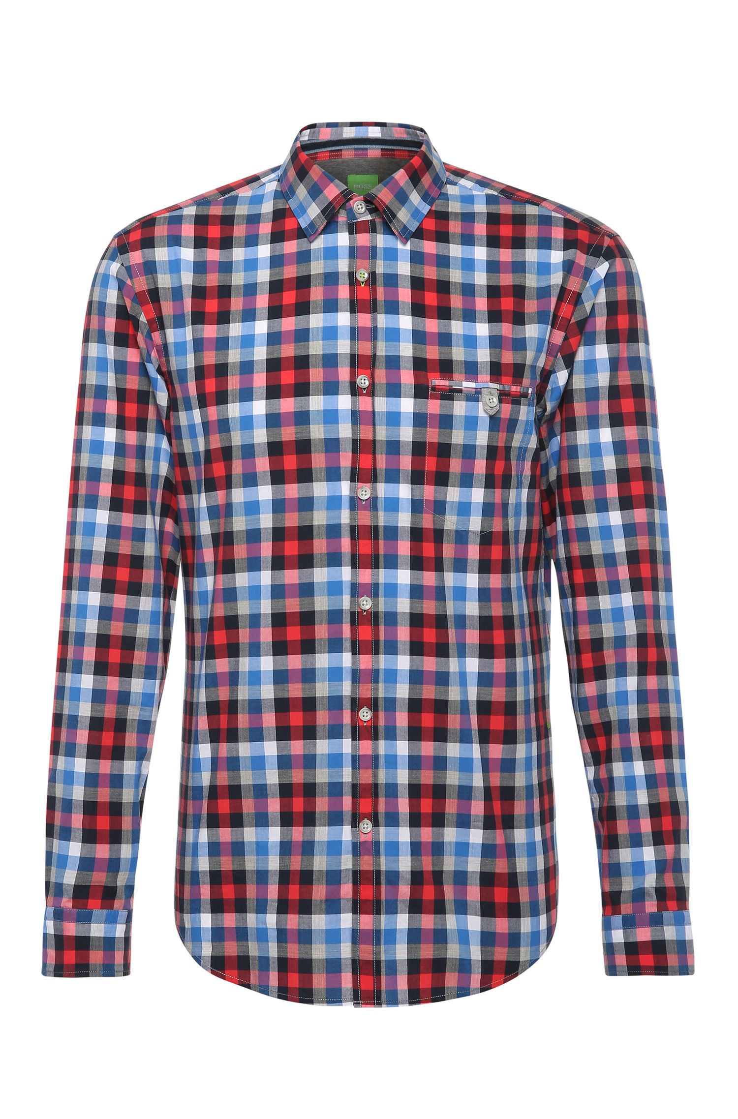 Camicia in cotone slim fit a quadri: 'Blumas'