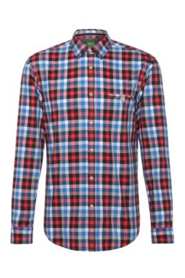 Checked slim-fit cotton shirt: 'Blumas', Open Red