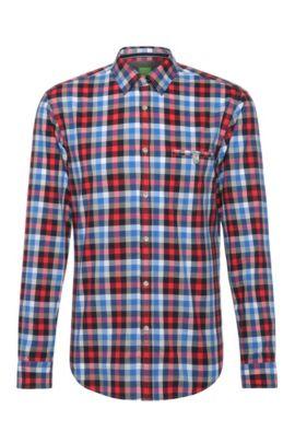 Chemise en coton à carreaux Slim Fit: «Blumas», Rouge clair