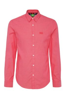 Regular-fit shirt in textured cotton: 'C-Buster', Open Red