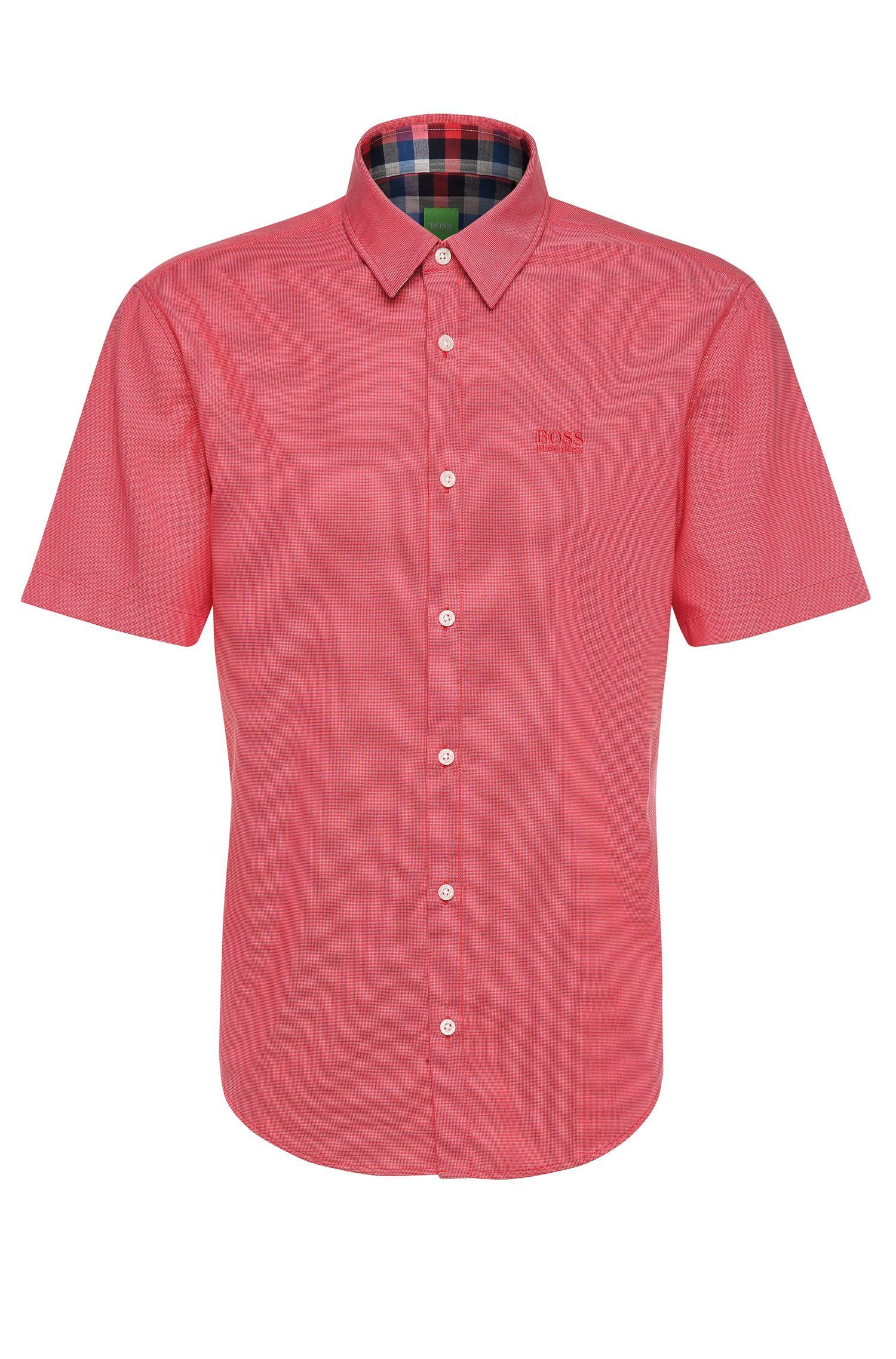 Regular-fit overhemd van katoen met korte mouwen: 'C-Busterino'