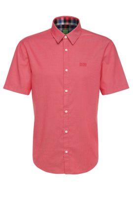 Regular-fit overhemd van katoen met korte mouwen: 'C-Busterino', lichtrood