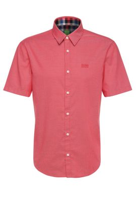 Camisa de manga corta regular fit en algodón: 'C-Busterino', Rojo claro