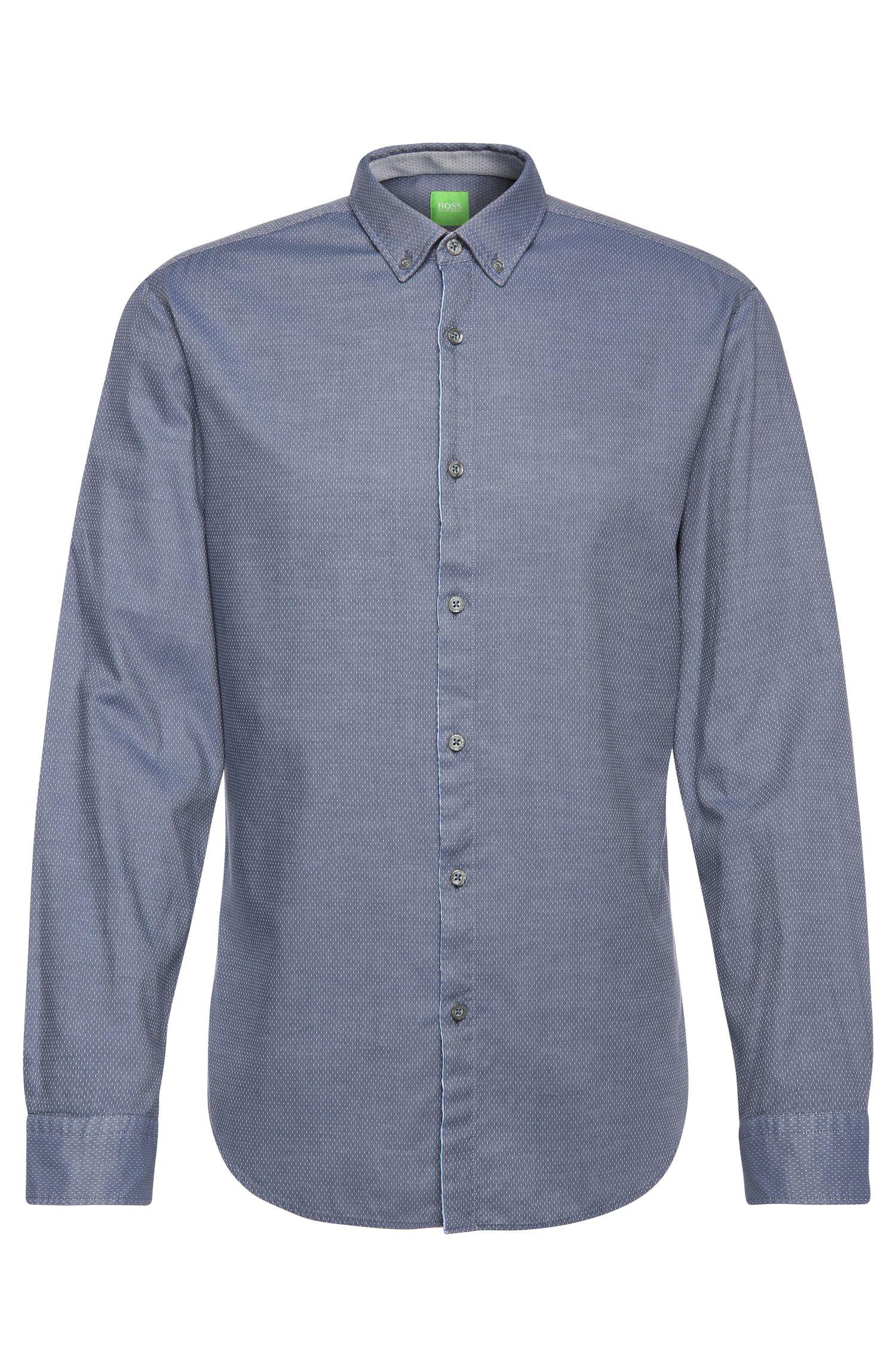 Camisa slim fit en algodón con estampado discreto: 'C-Baltero'