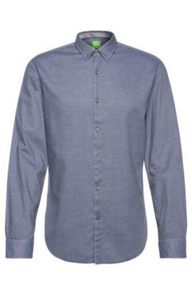 Camisa slim fit en algodón con estampado discreto: 'C-Baltero', Celeste
