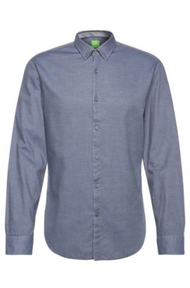 Slim-fit shirt in cotton with subtle pattern: 'C-Baltero', Open Blue