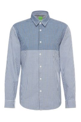 Checked regular-fit cotton shirt: 'C-Briar', Open Blue