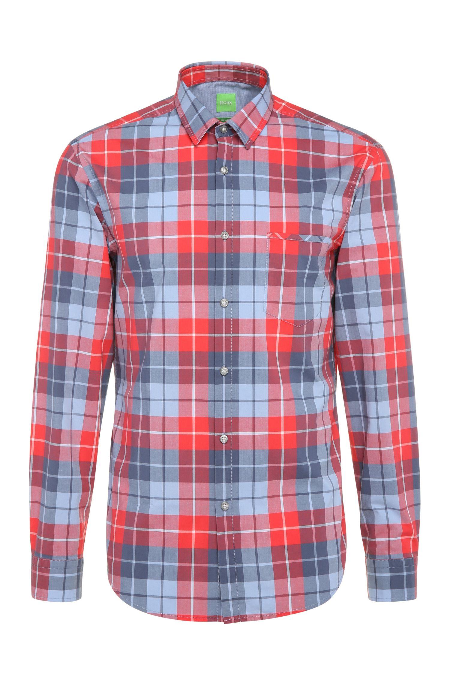 Camisa regular fit a cuadros en algodón: 'C-Bansi'