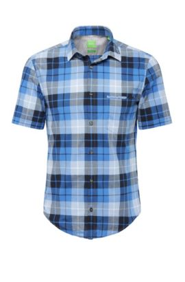 Regular-fit check shirt in cotton: 'C-Bansino', Dark Blue