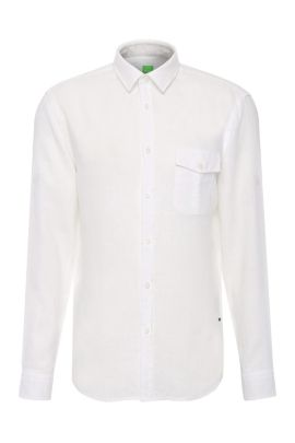 Camisa regular fit en lino: 'C-Brondo', Blanco