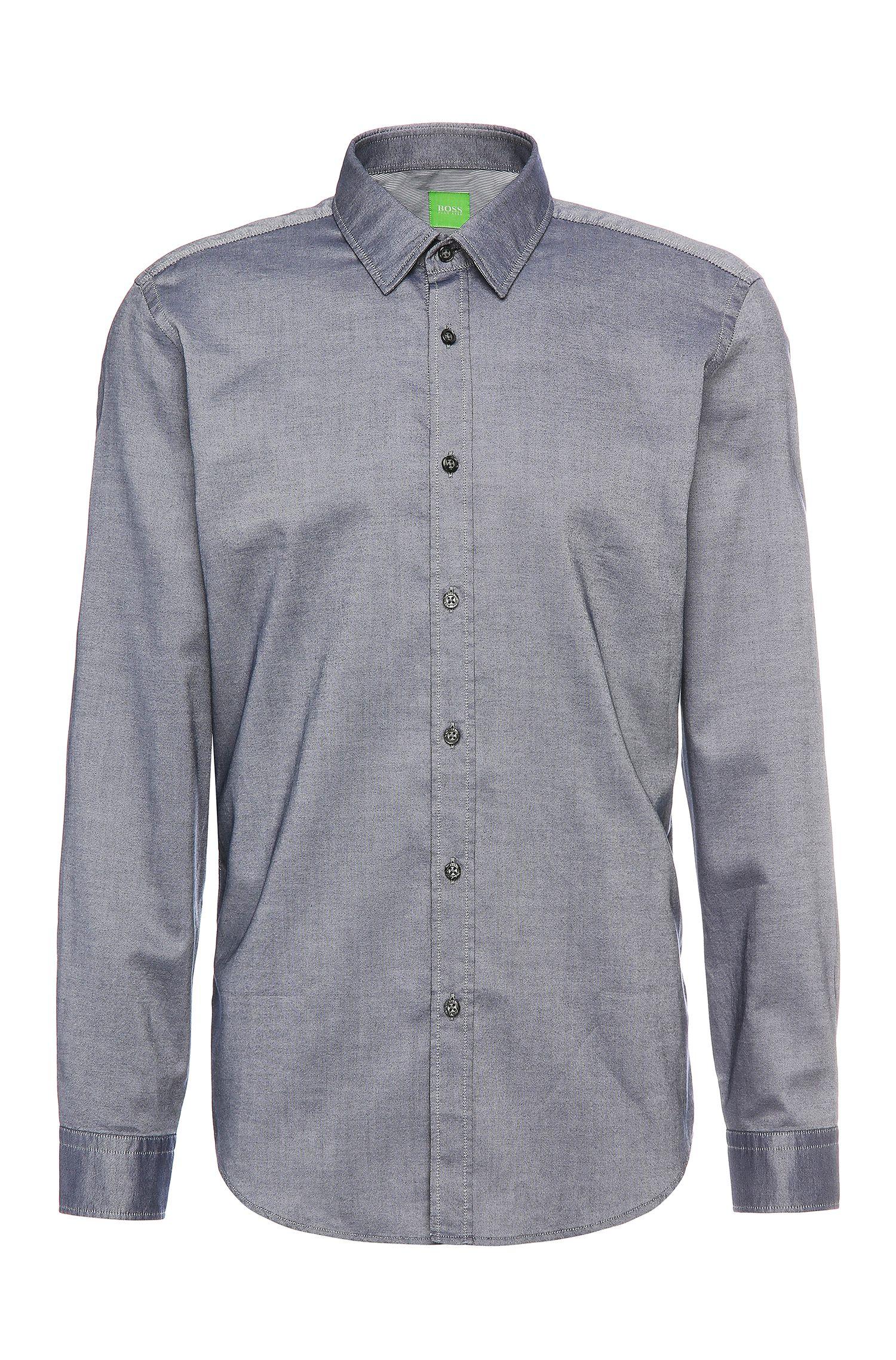 Relaxed-fit overhemd van gestructureerde katoen: 'C-Lukas'