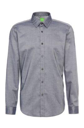 Relaxed-fit overhemd van gestructureerde katoen: 'C-Lukas', Donkerblauw