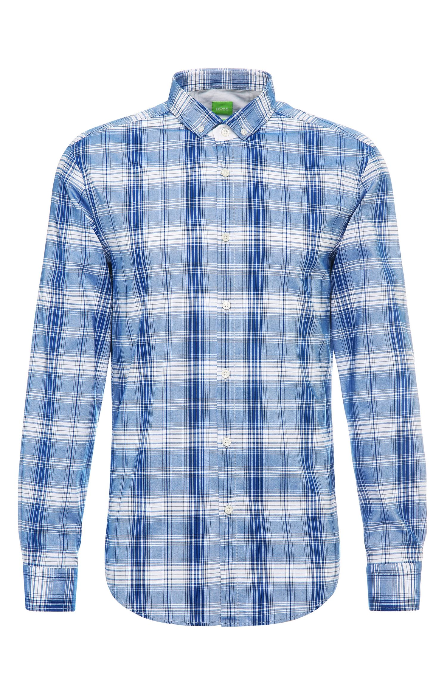 Camicia slim fit a quadri in cotone: 'C-Bilia'