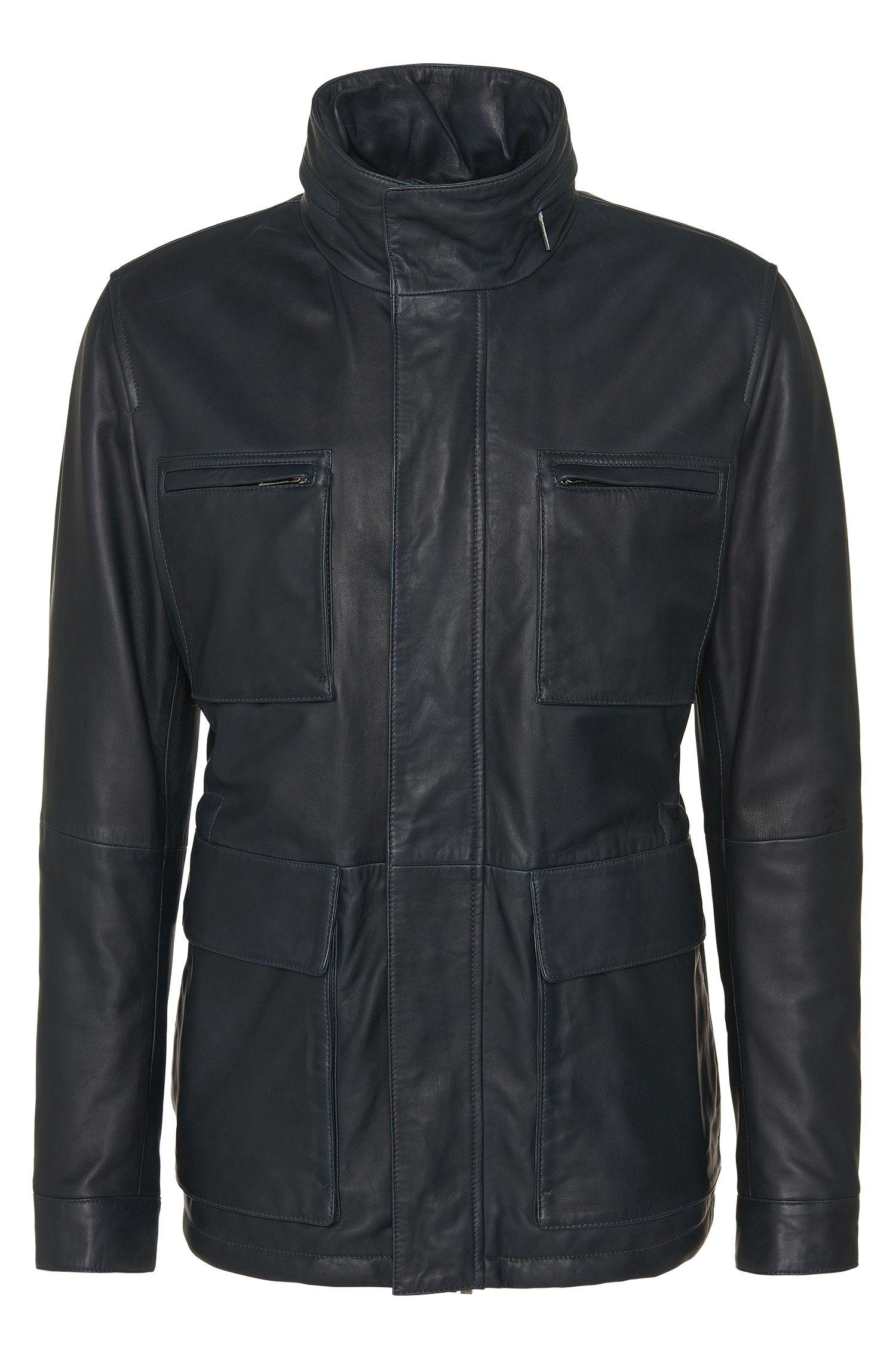 Blouson en cuir avec cordon de serrage et poches plaquées: «Arneo»