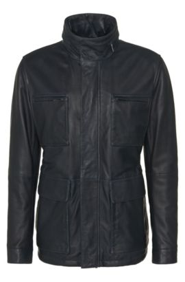 Leather jacket with drawstring and patch pockets: 'Arneo', Dark Blue