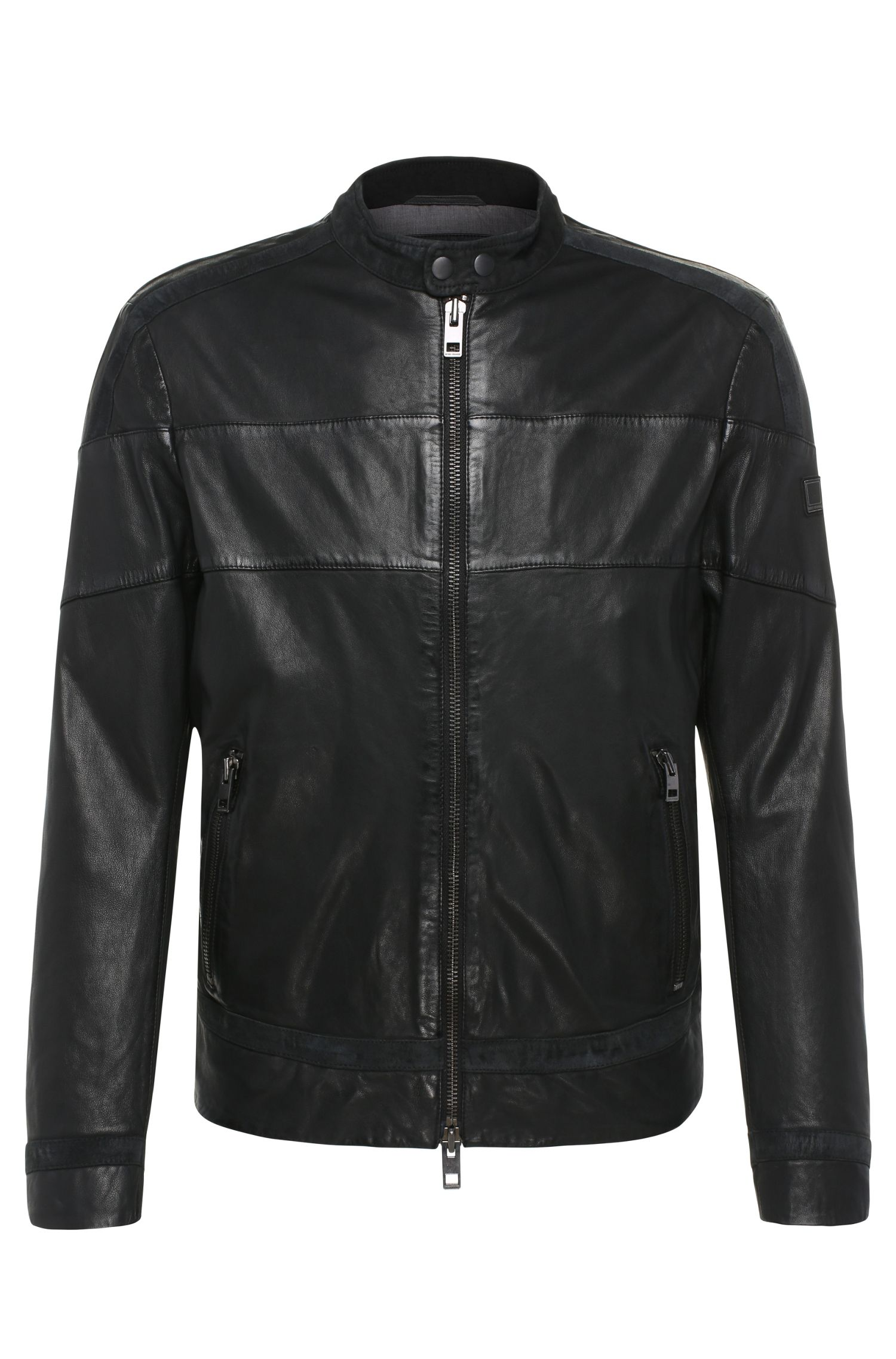 Slim-fit leather jacket with contrasting stripes: 'Jondro'