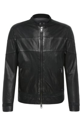 Slim-fit leather jacket with contrasting stripes: 'Jondro', Black