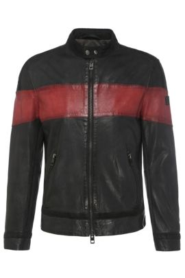 Slim-fit leather jacket with contrasting stripes: 'Jondro', Red