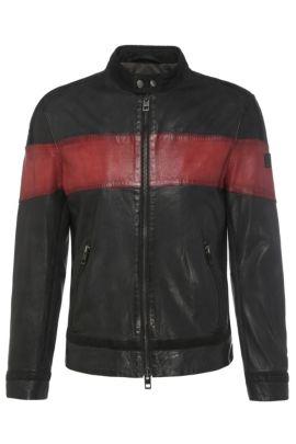 Slim-Fit Lederjacke mit Kontrast-Streifen: ´Jondro`, Rot