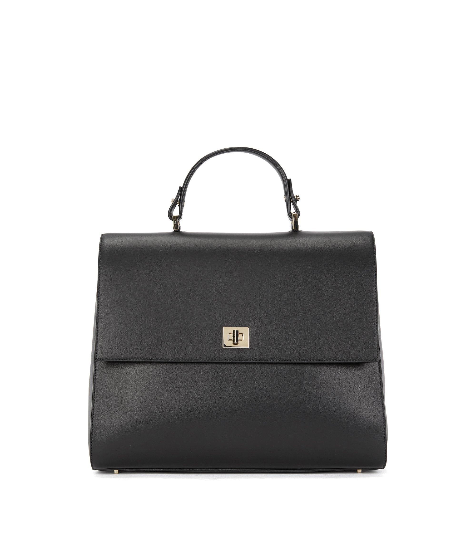 BOSS Bespoke Handtasche aus glattem Leder, Schwarz