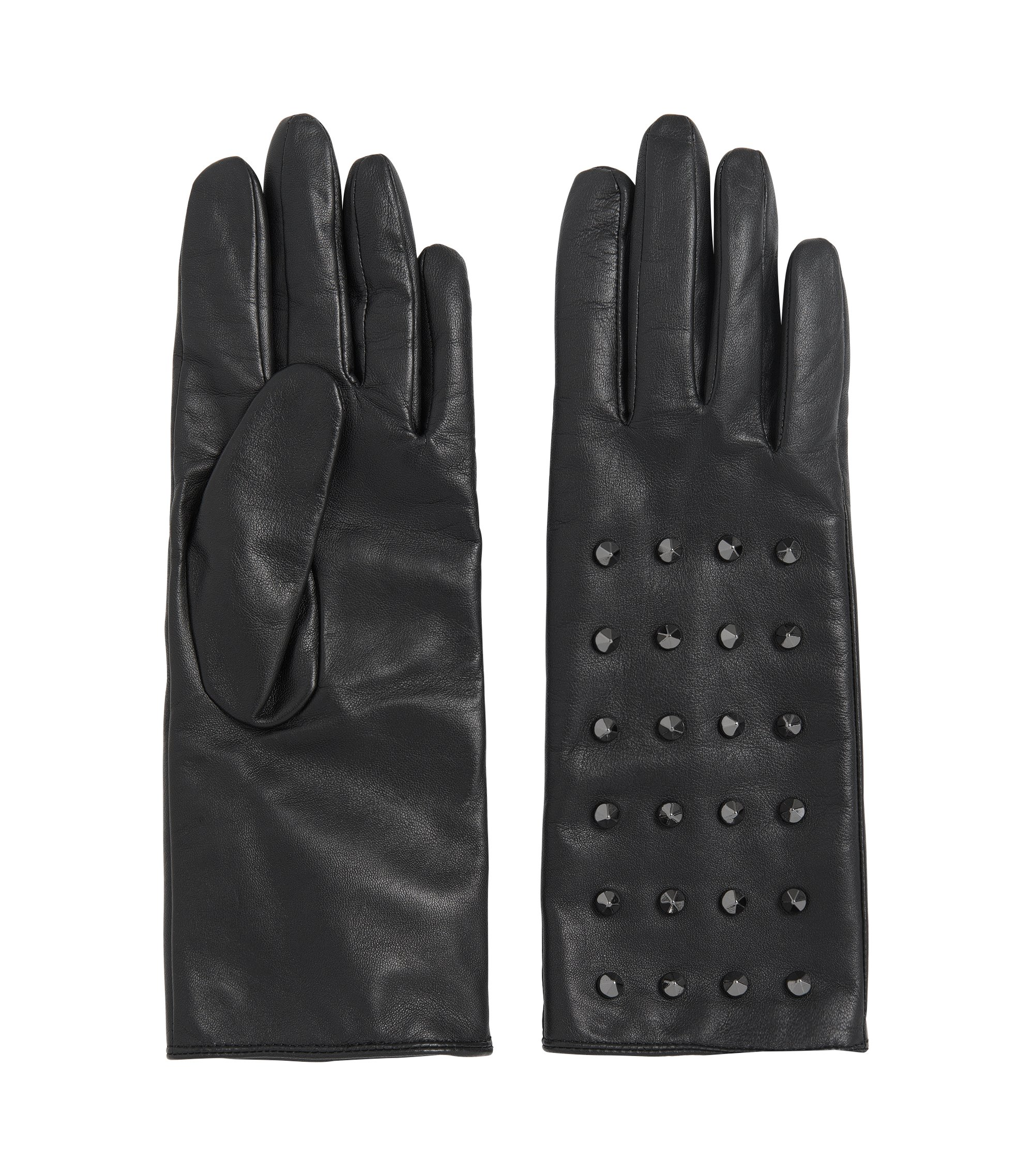 Leather gloves with stud trim: 'DH 72', Black