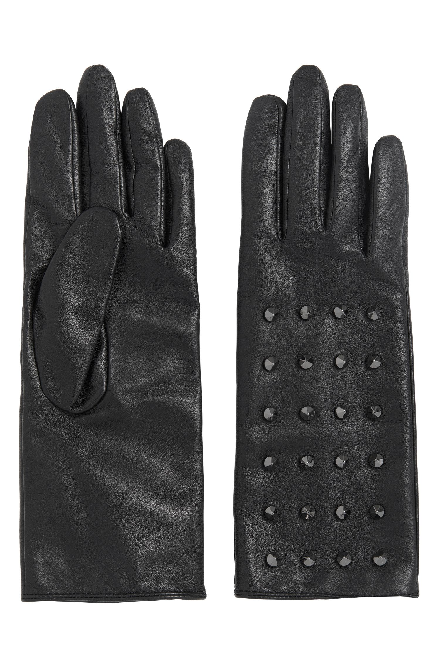 Leather gloves with stud trim: 'DH 72'