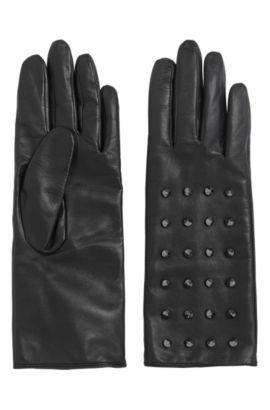 Lederhandschuhe mit Nietenbesatz: 'DH 72', Schwarz