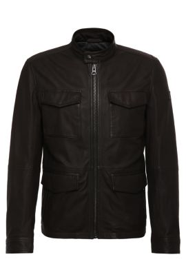 Field jacket in waxed leather: 'Jeep', Dark Brown
