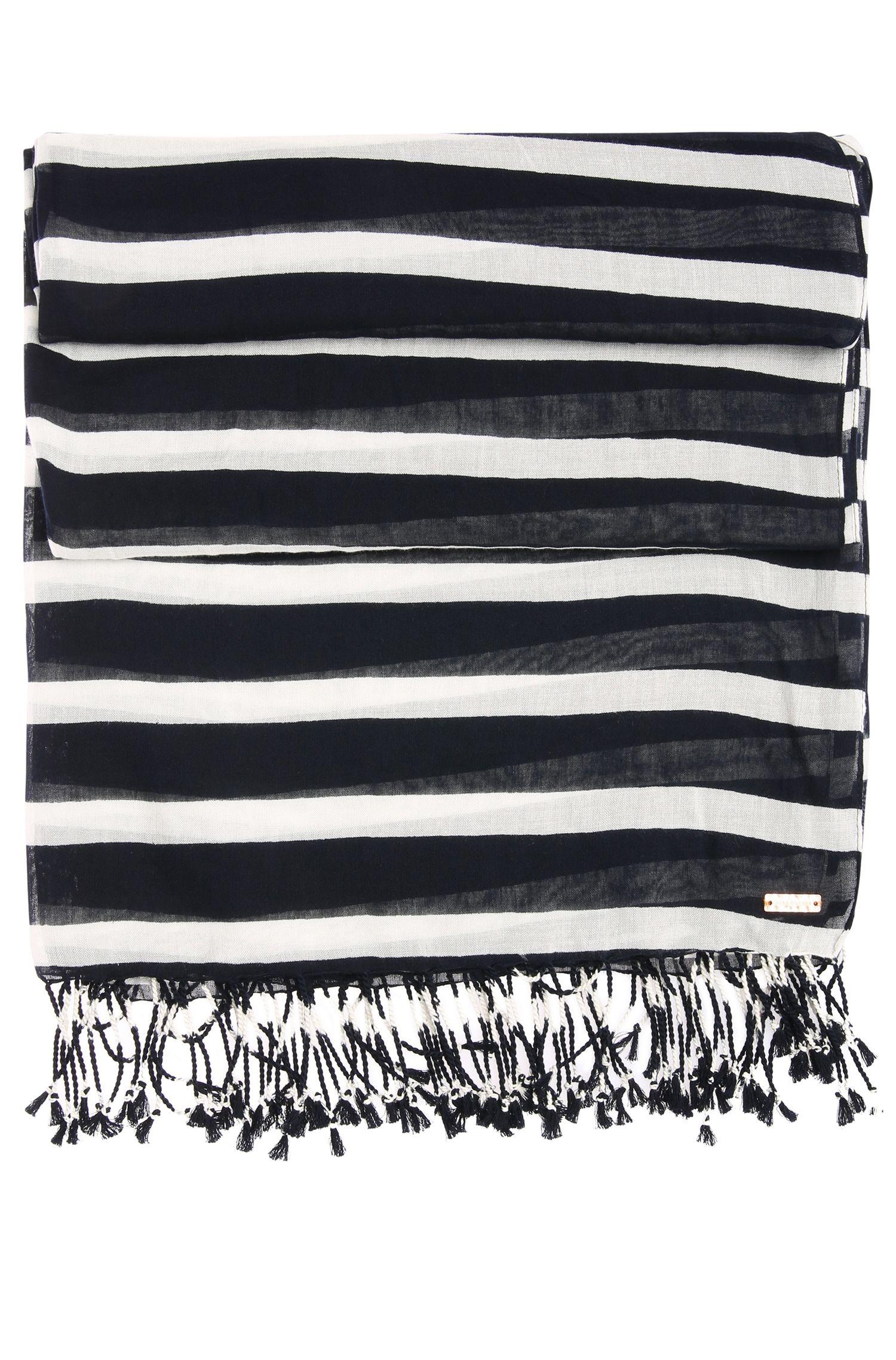 Gestreepte sjaal van katoen met modal: 'Niris'