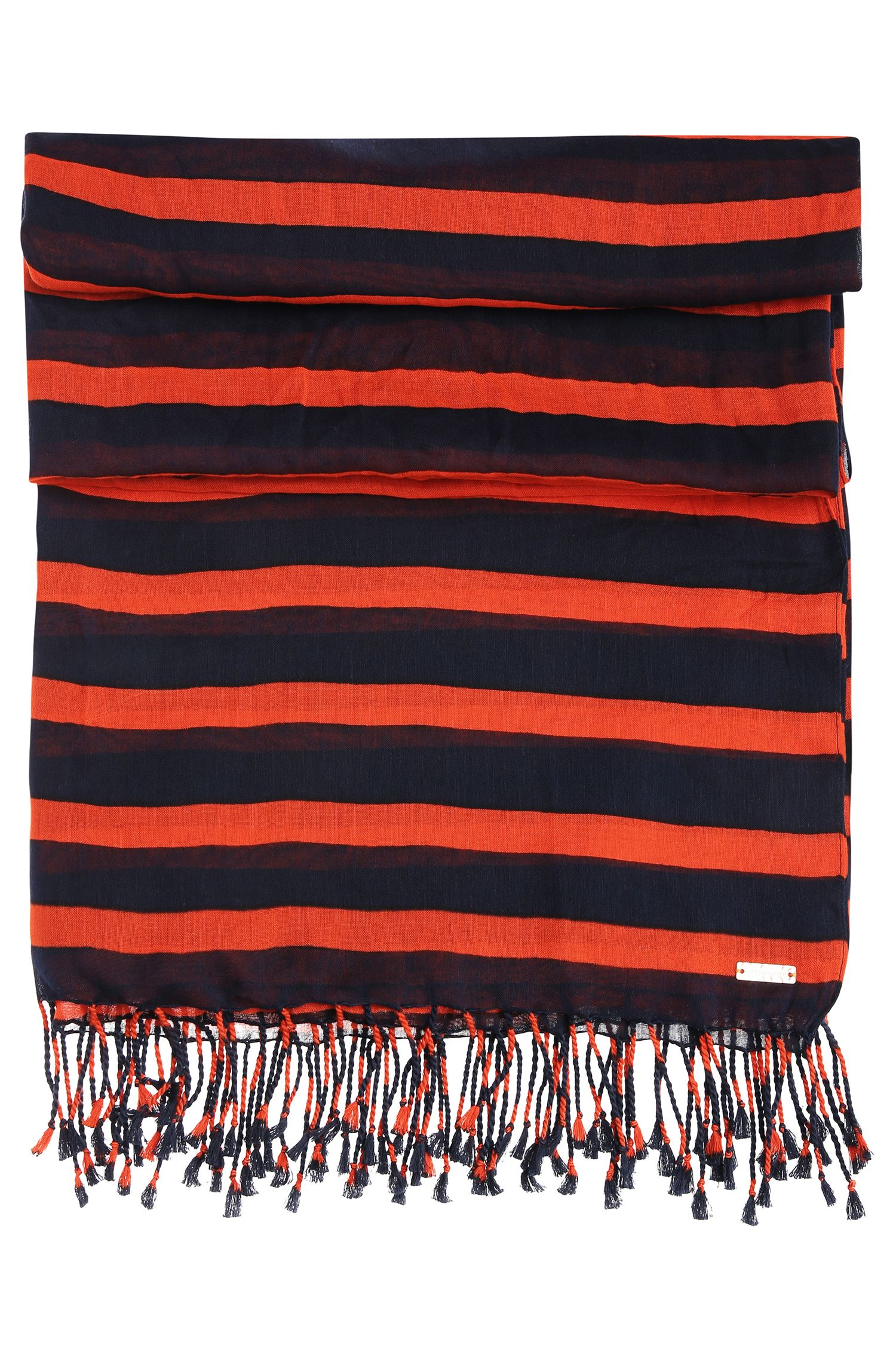 Striped scarf in cotton blend with modal: 'Niris'