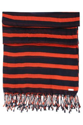 Striped scarf in cotton blend with modal: 'Niris', Patterned