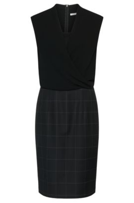 Dress in new-wool blend with wrap neckline: 'Daliena', Patterned