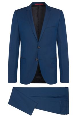 Fein gemusterter Slim-Fit Anzug aus Schurwolle: 'Arti/Heilon', Hellblau