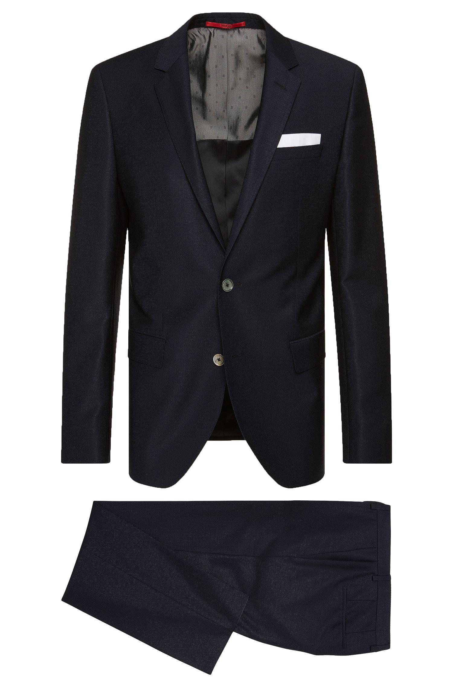 Traje slim fit en lana virgen con pañuelo de bolsillo integrado: 'C-Hutson1/C-Gander'
