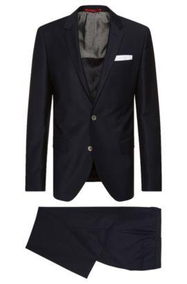 Traje slim fit en lana virgen con pañuelo de bolsillo integrado: 'C-Hutson1/C-Gander', Azul oscuro