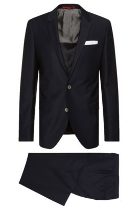 Slim-fit suit in new wool with an integral pocket square: 'C-Hutson1/C-Gander', Dark Blue