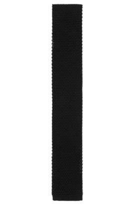 Textured Tailored pure silk tie: 'T-Tie 6 cm knitted', Black