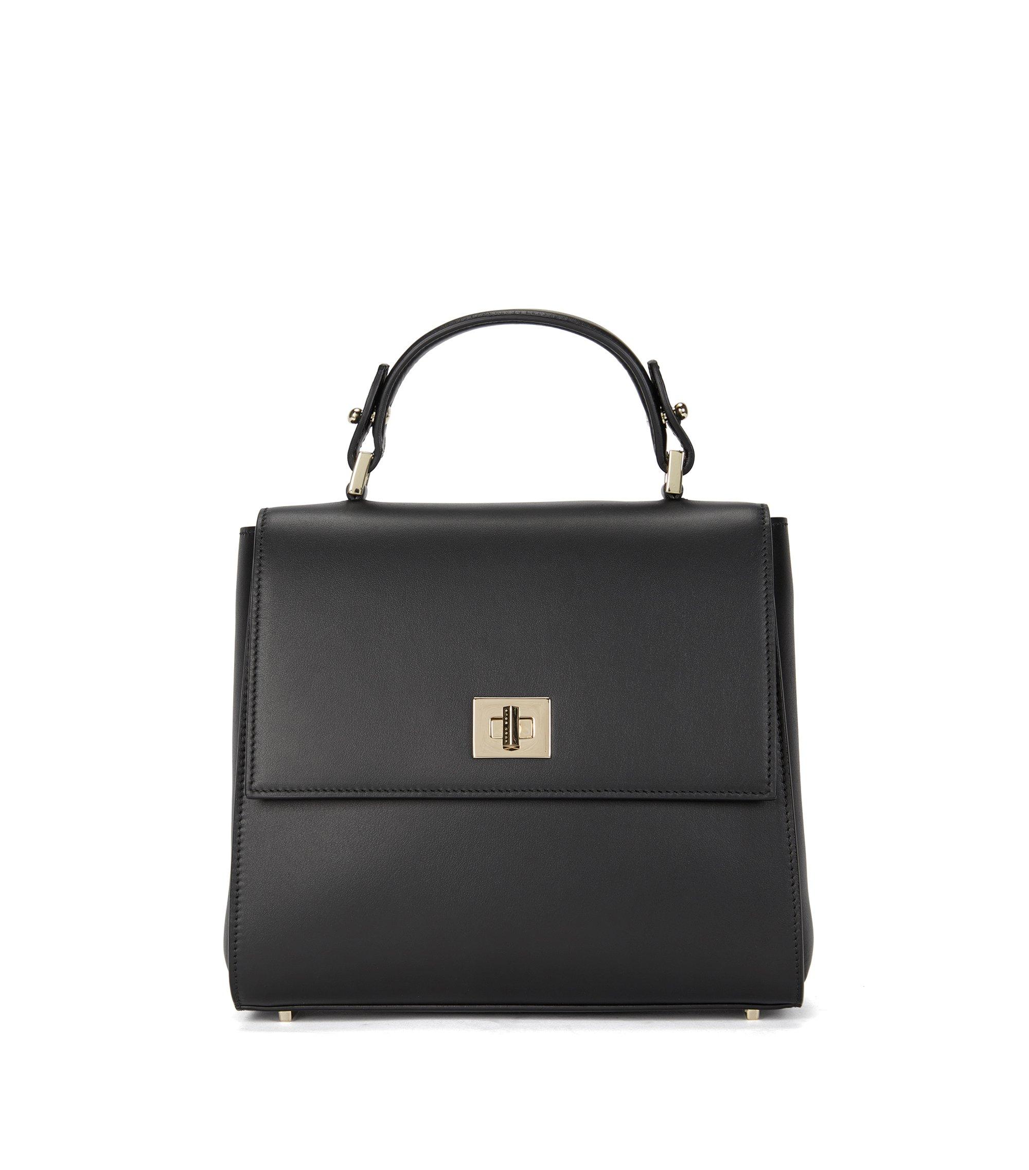 Kleinformatige BOSS Bespoke Handtasche aus glattem Leder, Schwarz